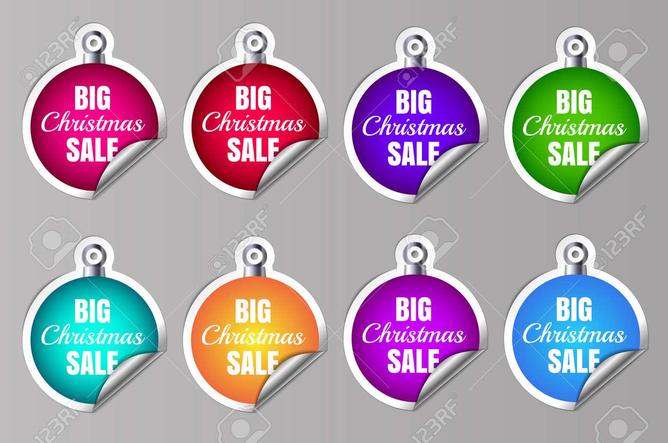 Big Sale Christmas Ball Sticker tags with Big Christmas Sale text on Colorful Christmas Ball Sticker tags - EPS10 Vector. Vector illustration - 158812436