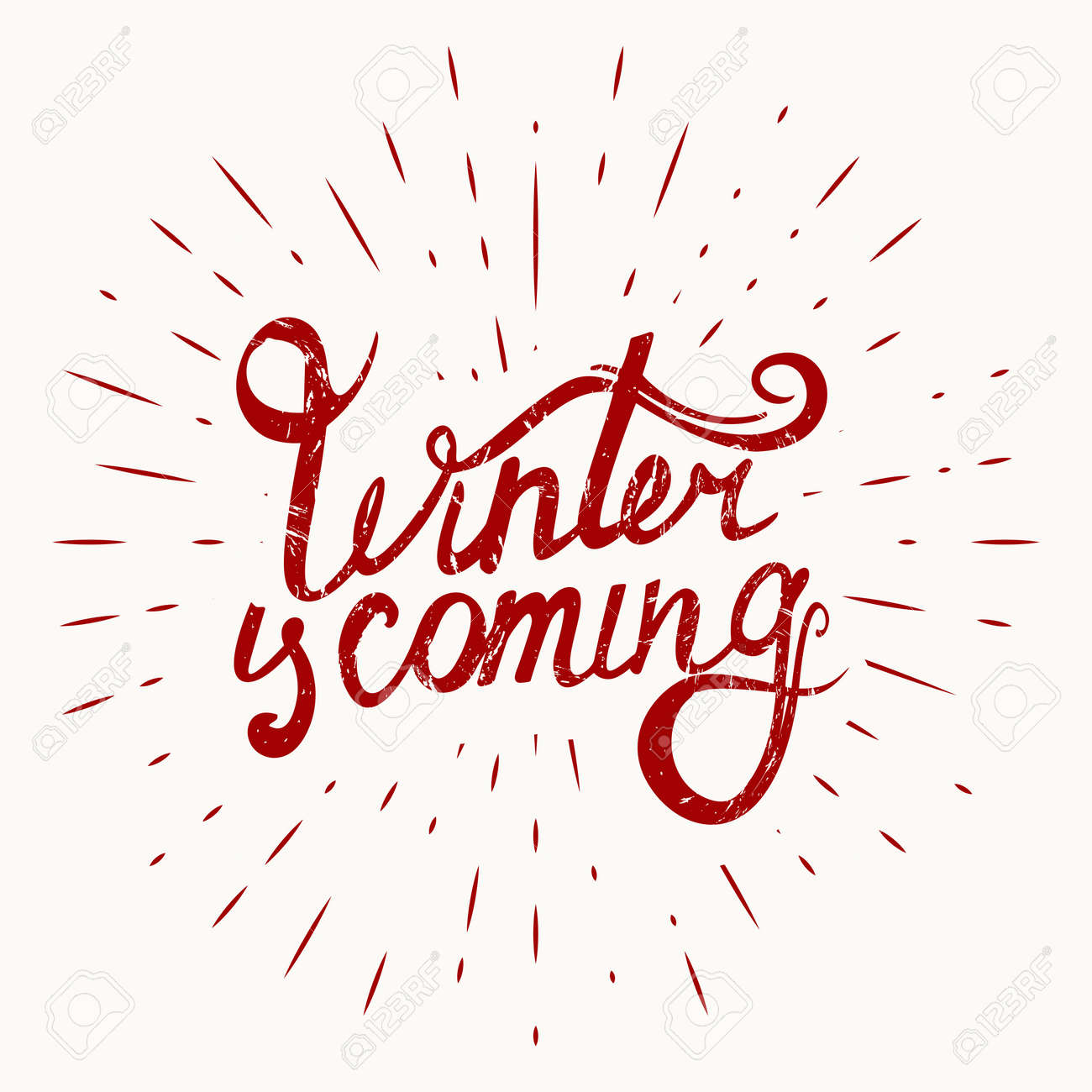 Abstract Creative concept vector design layout with text - winter is coming on sunburst background. Vector illustration - 159550727