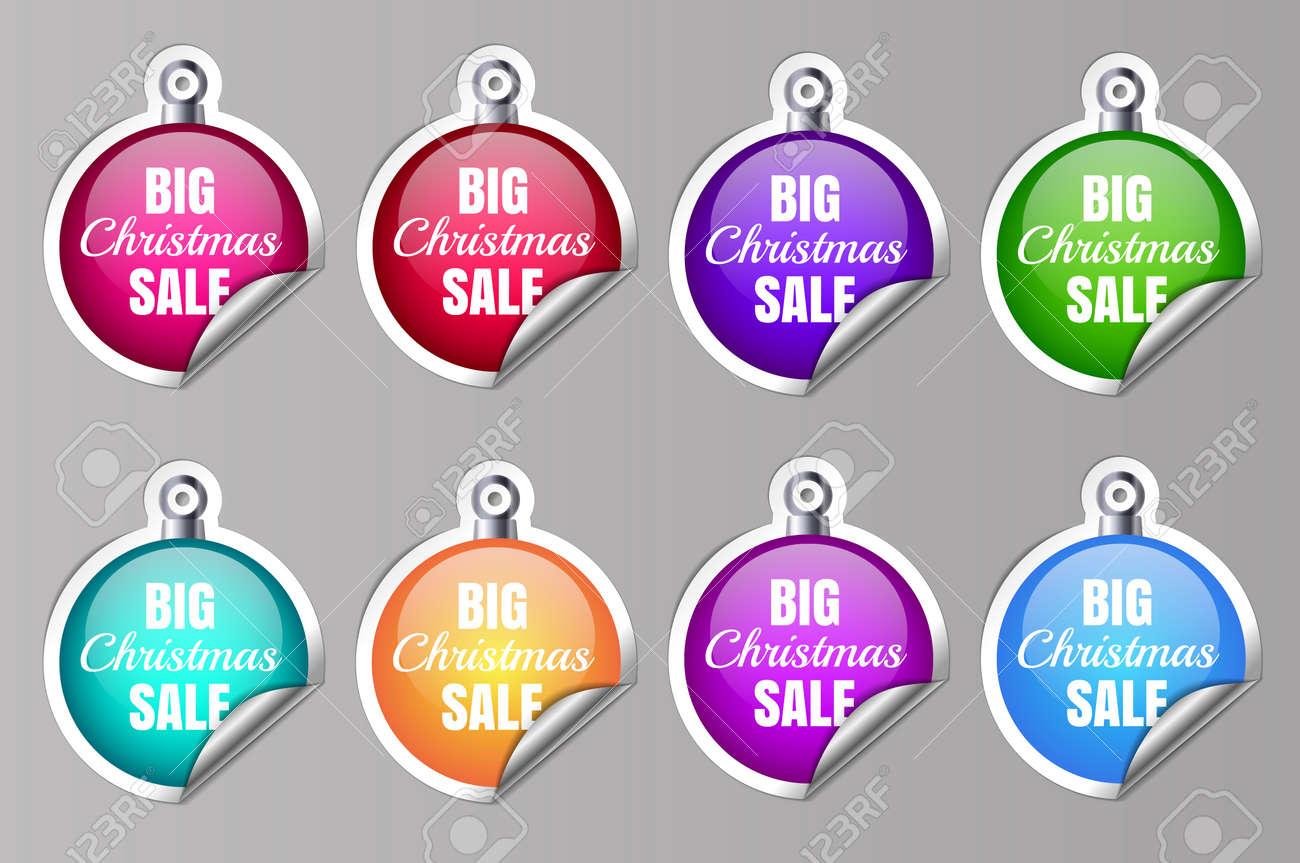Big Sale Christmas Ball Sticker tags with Big Christmas Sale text on Colorful Christmas Ball Sticker tags - EPS10 Vector. Vector illustration - 158826551