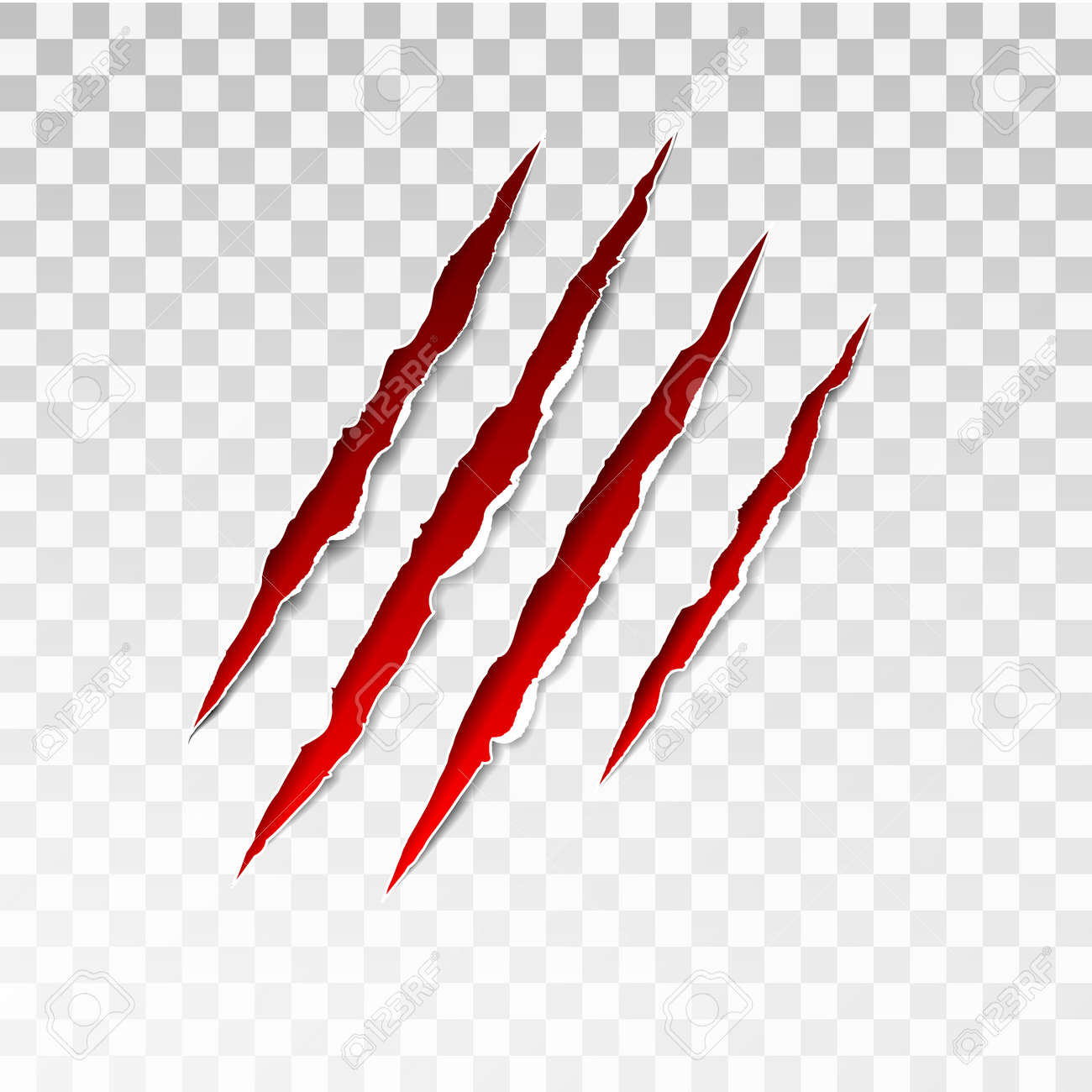 Animal red scratches on transparent background. Paper claws animal scratching. Claw scratch mark. Animal predator paw claw, knife scratch trace. Horror slash trace. vector illustration. - 158934625