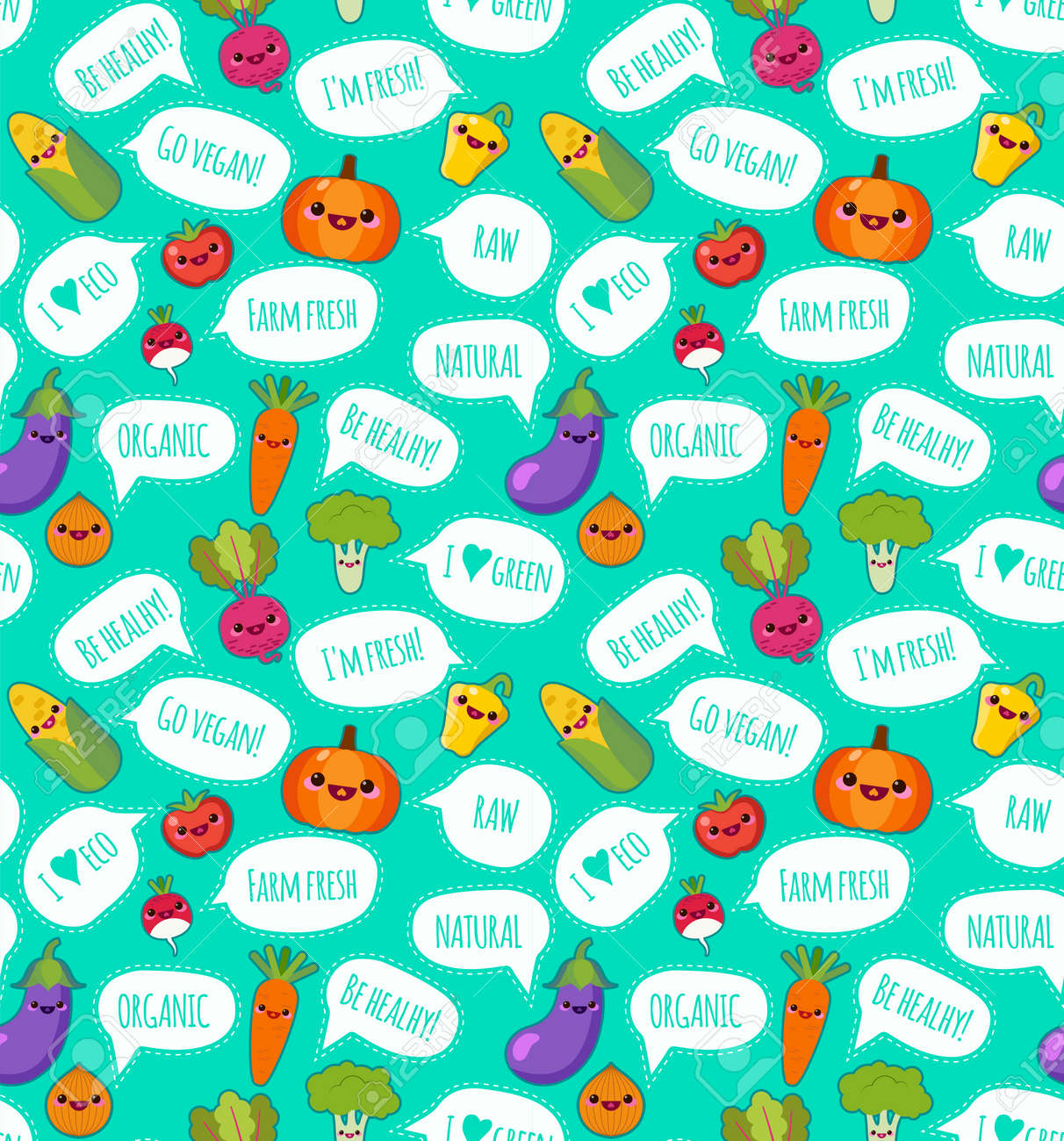 Cute funny vegetables with a speech bubble with a vegetarian label vector seamless pattern. Bright vegetables on white background. Can be used for textile, wallpaper, wrapping. - 158934686