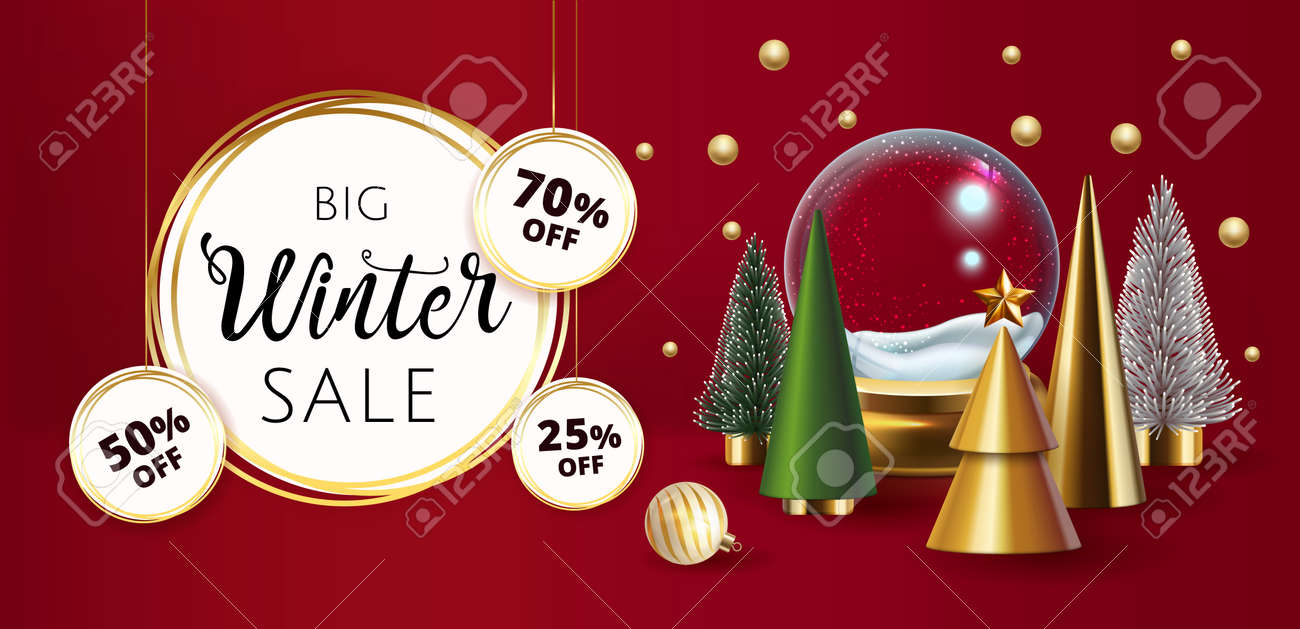 Christmas composition with traditional decoration, Christmas trees, glass ornaments, gold deer and white dove. Christmas greeting card. - 159550746