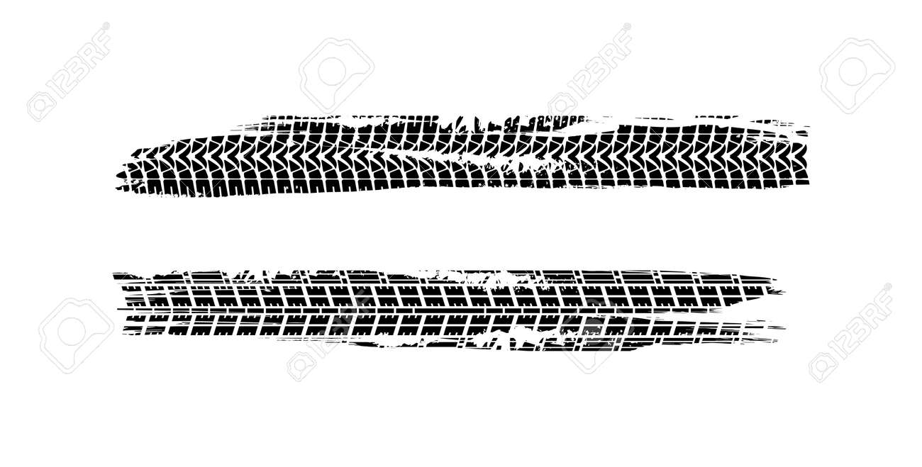 Vector Print Textured Tire Track . Design Element .Bike tread silhouette. Vector illustration - 159550751