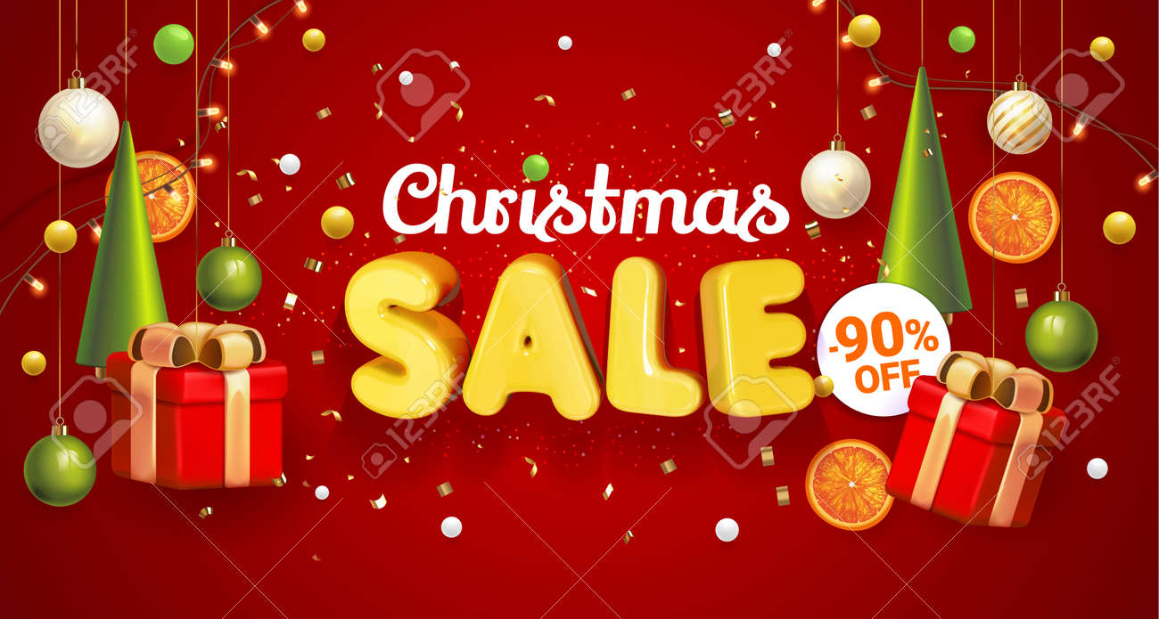 Christmas Sale banner red with composition made of hanging christmass ball and plastic green cartoon Christmas trees, glass ornaments, festive elements. Vector Illustration. Concept winter ads sale. - 160179312