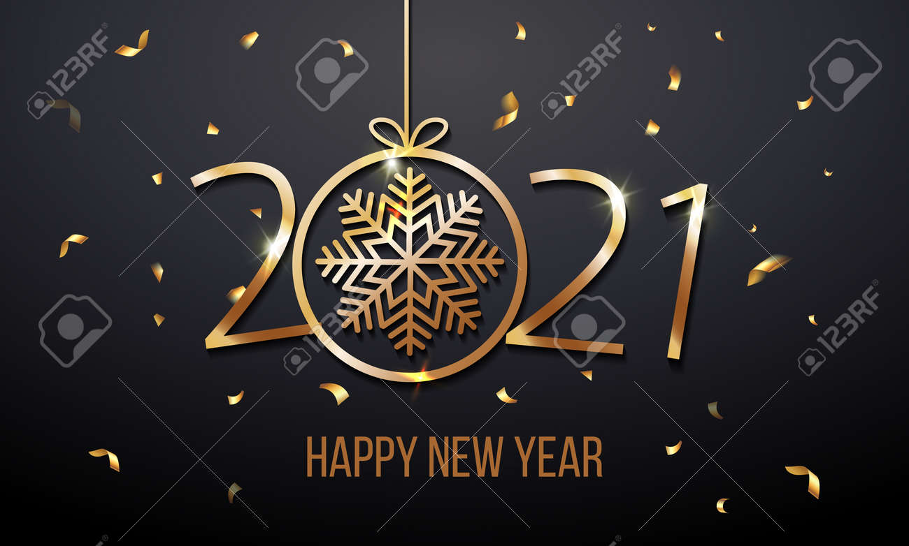 Greeting card web banner or poster with happy new year 2021 with snowflake gold glitter confetti and shine. Luxury golden and black color invitation. Vector illustration for web. EPS 10. Vector - 160206976
