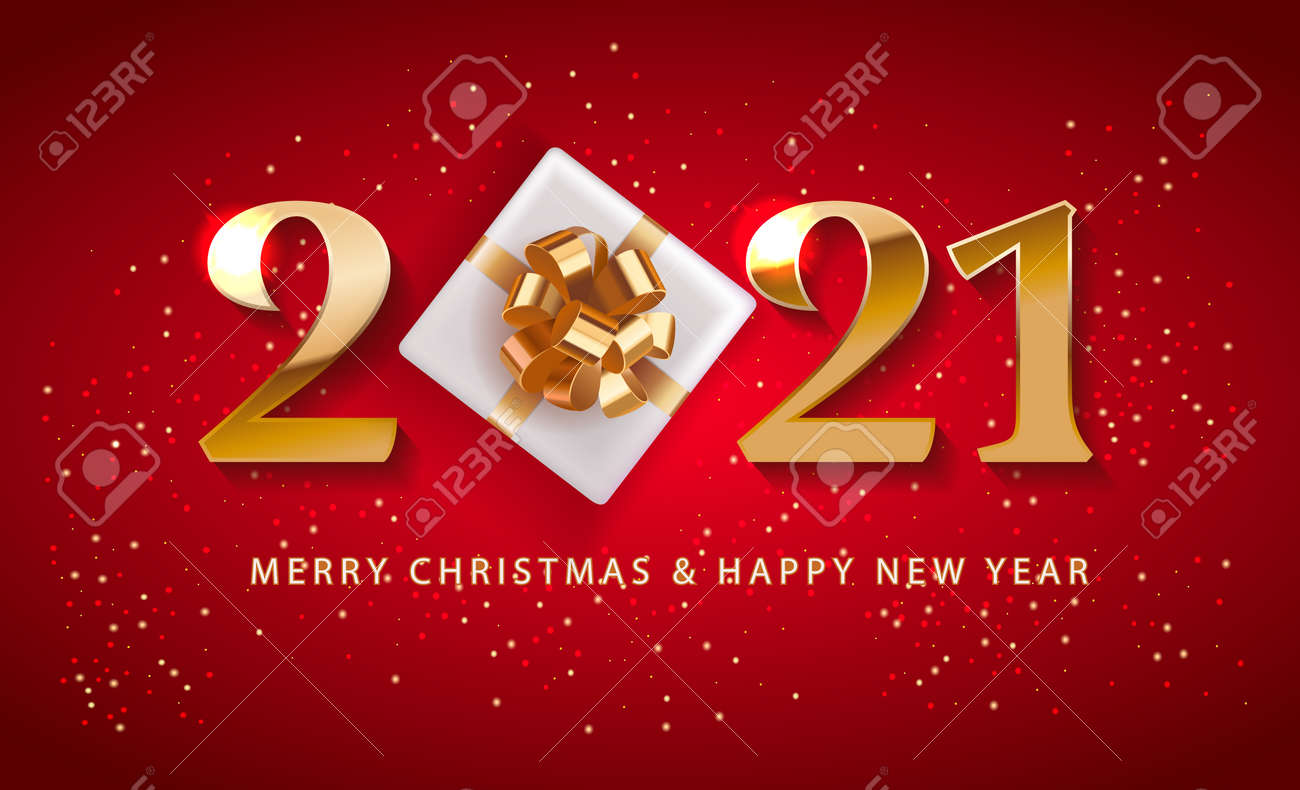 Merry Christmas and Happy New Year 2021 numbers logo Promotion Poster or banner with red gift box ,Shopping or Christmas Promotion in red and gold style. Festive vector background. - 160206987