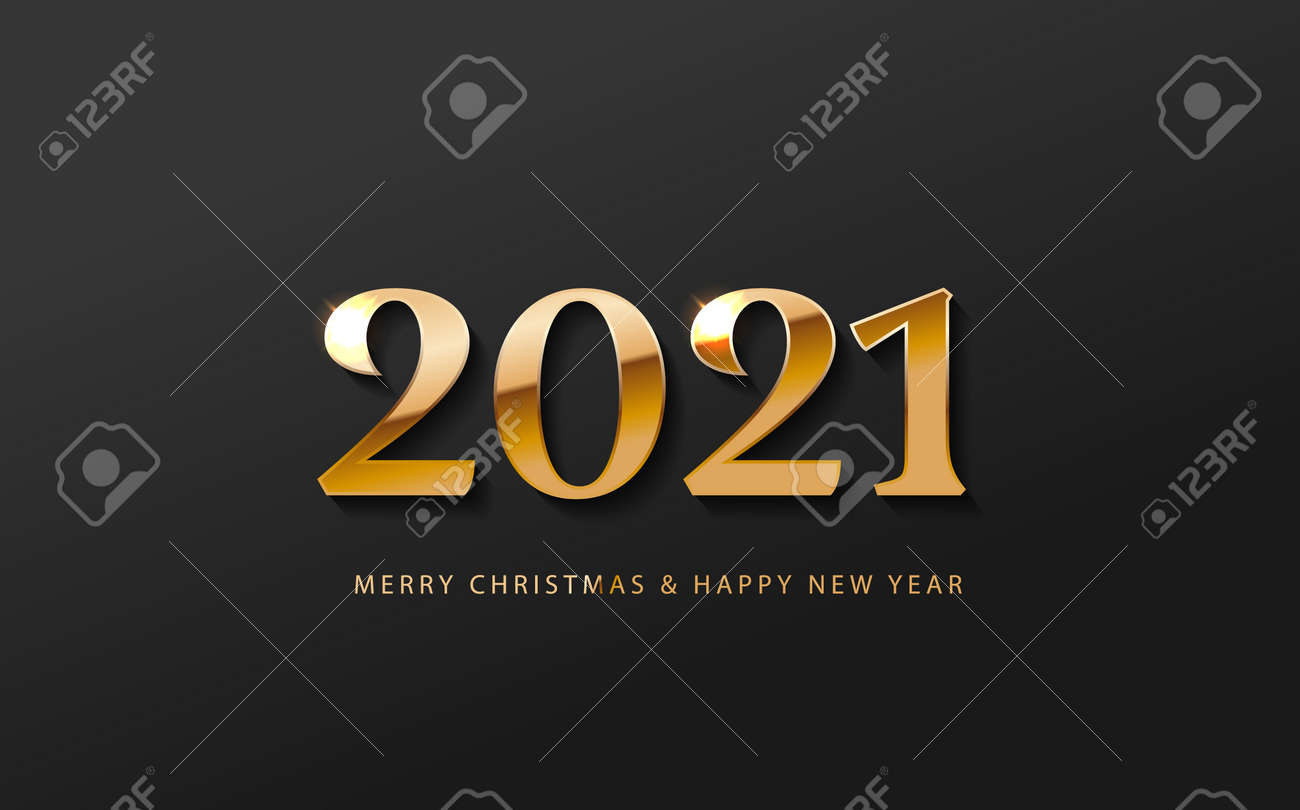 2021 Happy New Year Banner logo. Greeting design with golden number of year on a abstract black background. Design for greeting card, invitation, calendar, etc. - 160206990