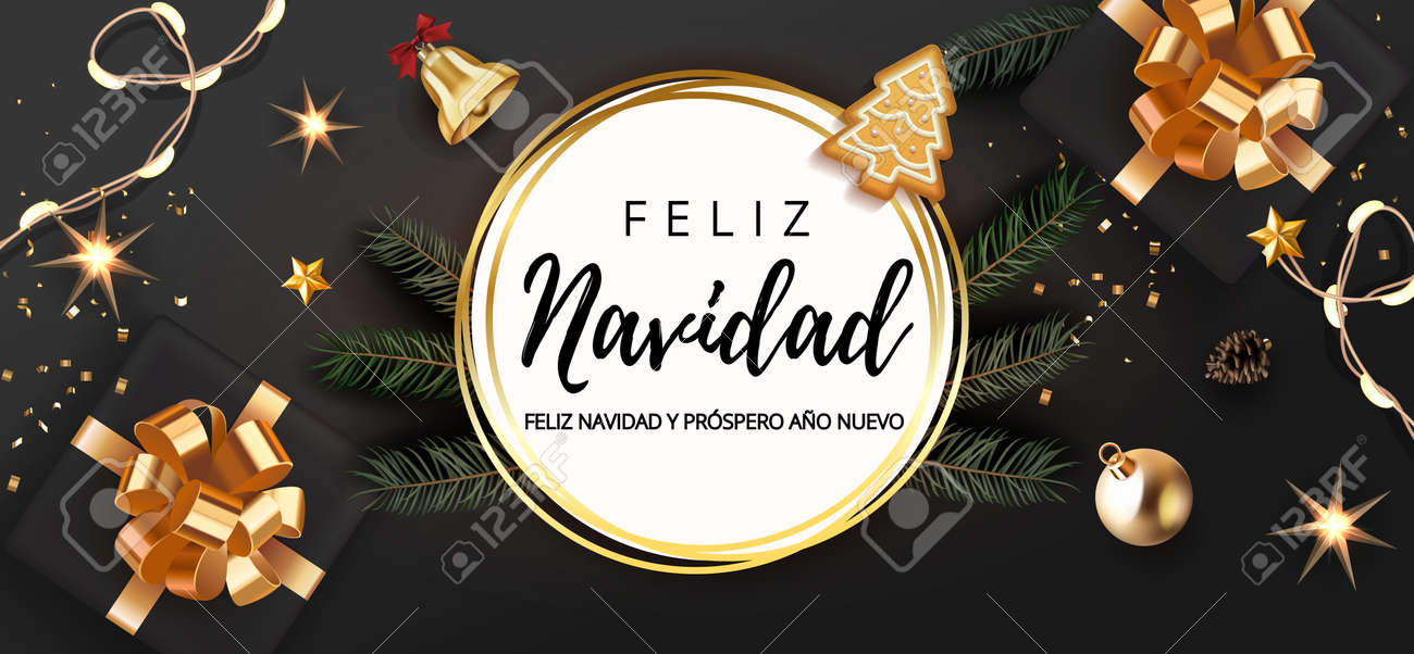 Spanish lettering Feliz Navidad - Happy New Year and Merry Christmas. Christmas festive luxury black and gold background with gifts box and christmas balls, stars, bell, light garland fir tree. - 161077374