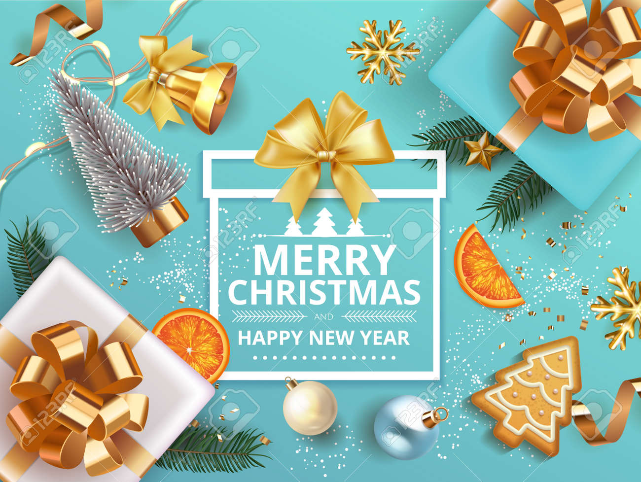 Winter Merry Christmas and Happy New Year banner with gift box decorated with Christmas tree branches, balls, gingerbread, oranges. bell snowflakes snow. Vector Xmas poster, festive greeting card. - 161202082