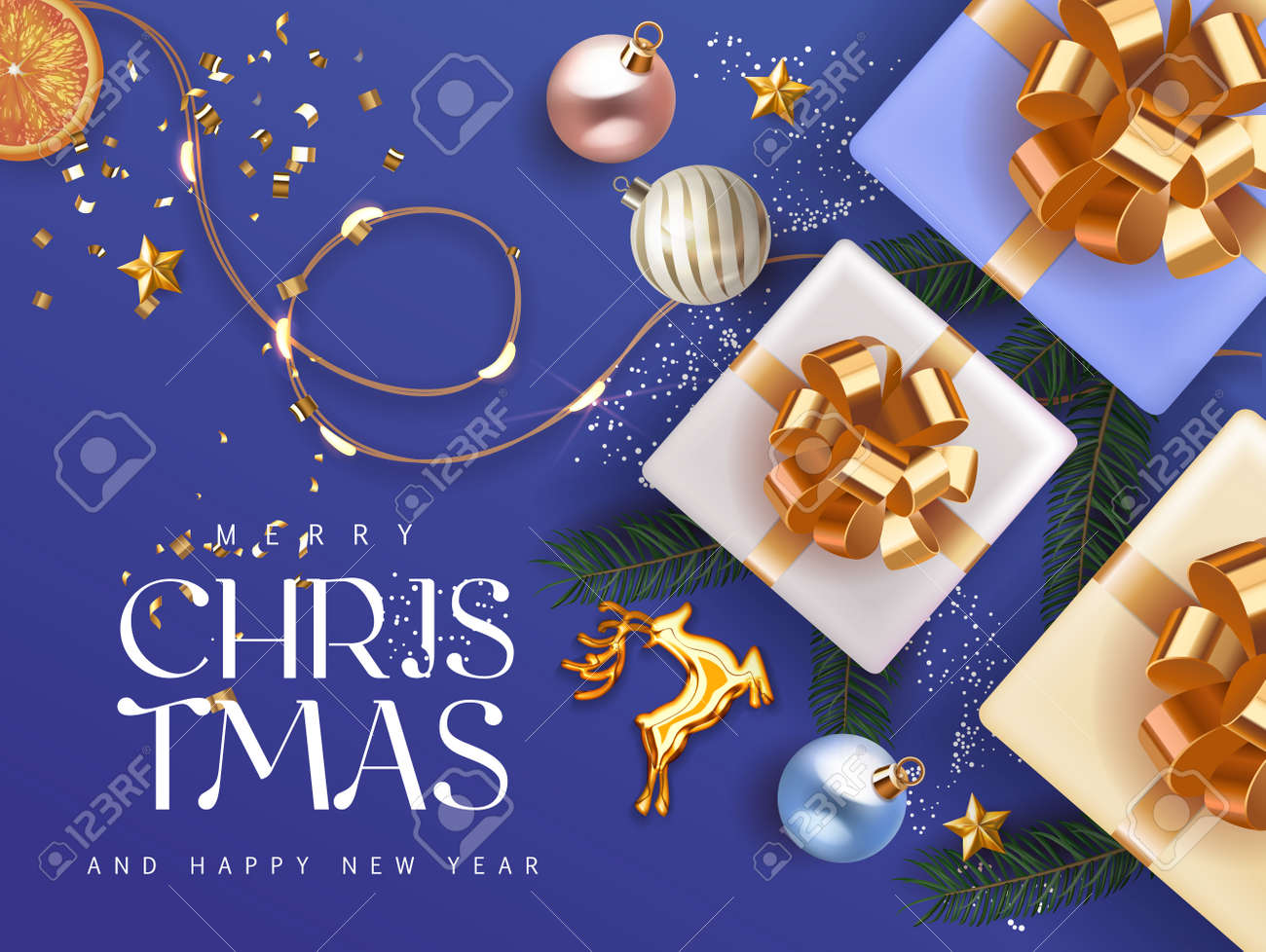 Merry Christmas and Happy New 2021 Year deep blue cyan Holiday background with gift boxes with gold ribbon fir tree branches christmas balls gold deer and lights. Festive Xmas decoration in blue - 161202086
