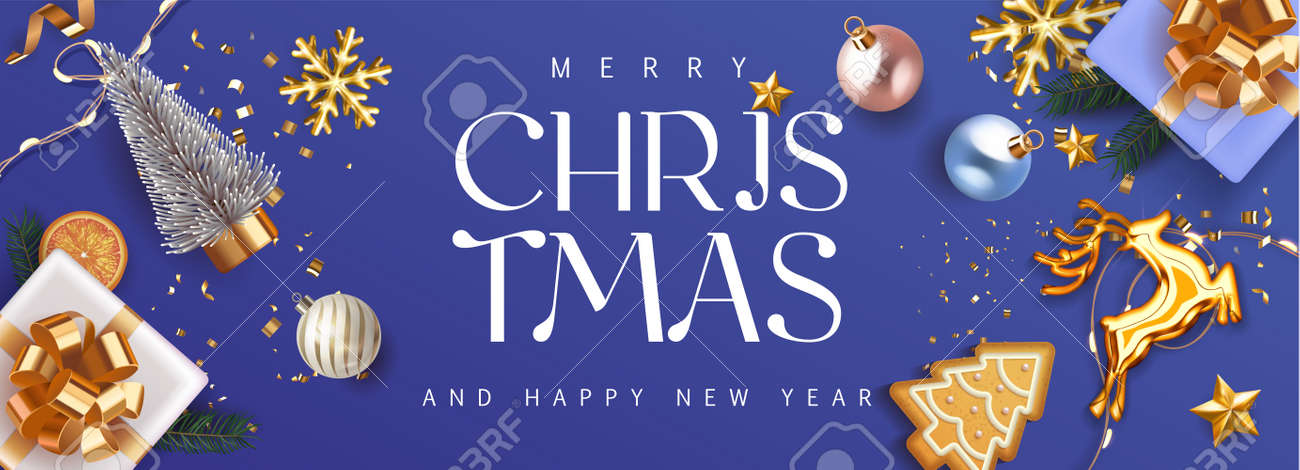 Merry Christmas and Happy New Year deep blue violet Holiday background with gift boxes with gold bow and fir tree , christmass balls, gold deer and lights. Festive Xmas decoration in violet. Vector - 161202088