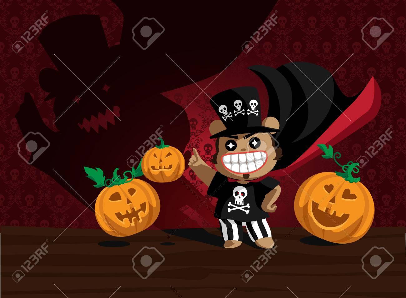 Helloween bear and angry pumpkins Stock Vector - 6580373