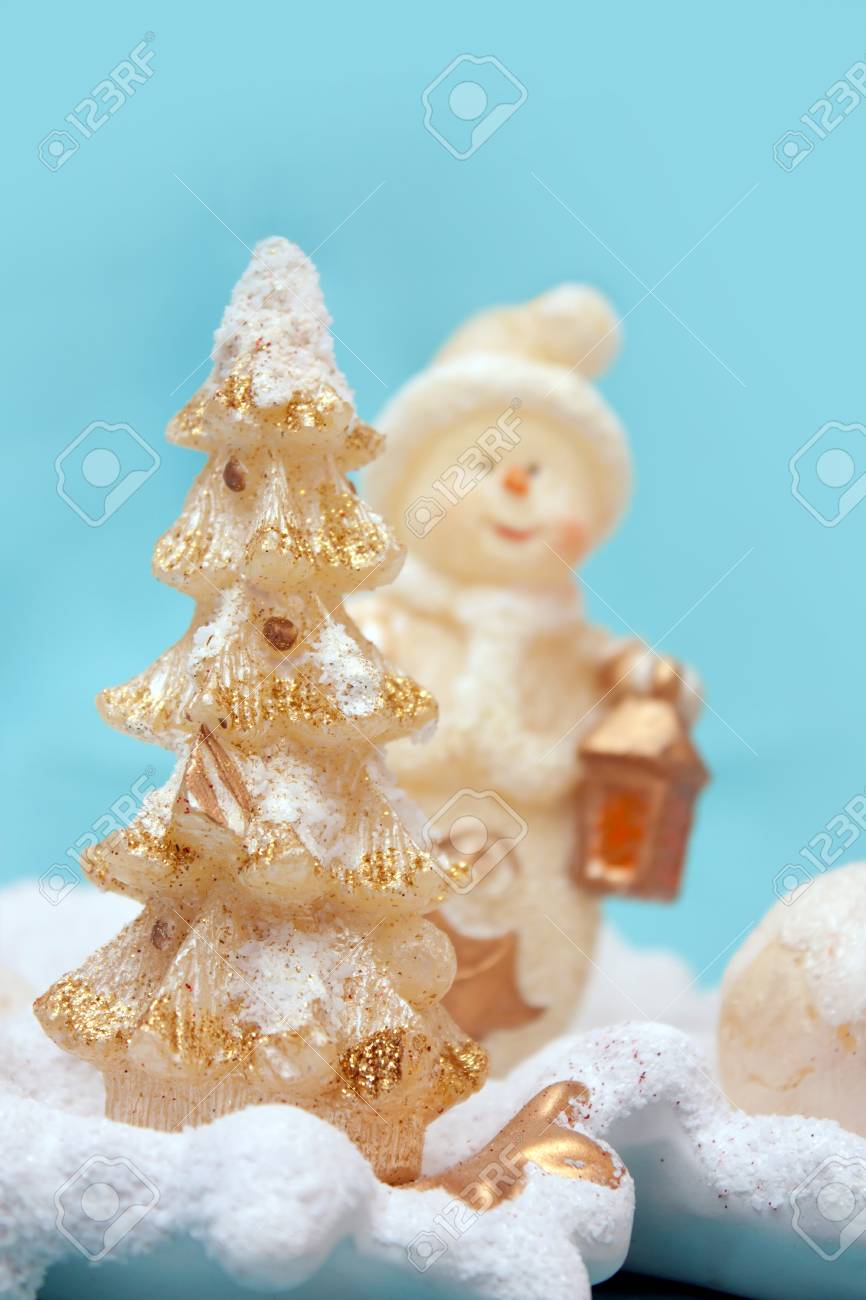 Decorative christmas tree with a snowman at the background Stock Photo - 16259666