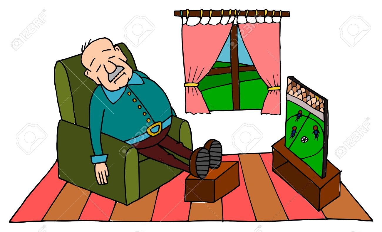 Cute grandpa sleeping on sofa with football on tv - 55491878