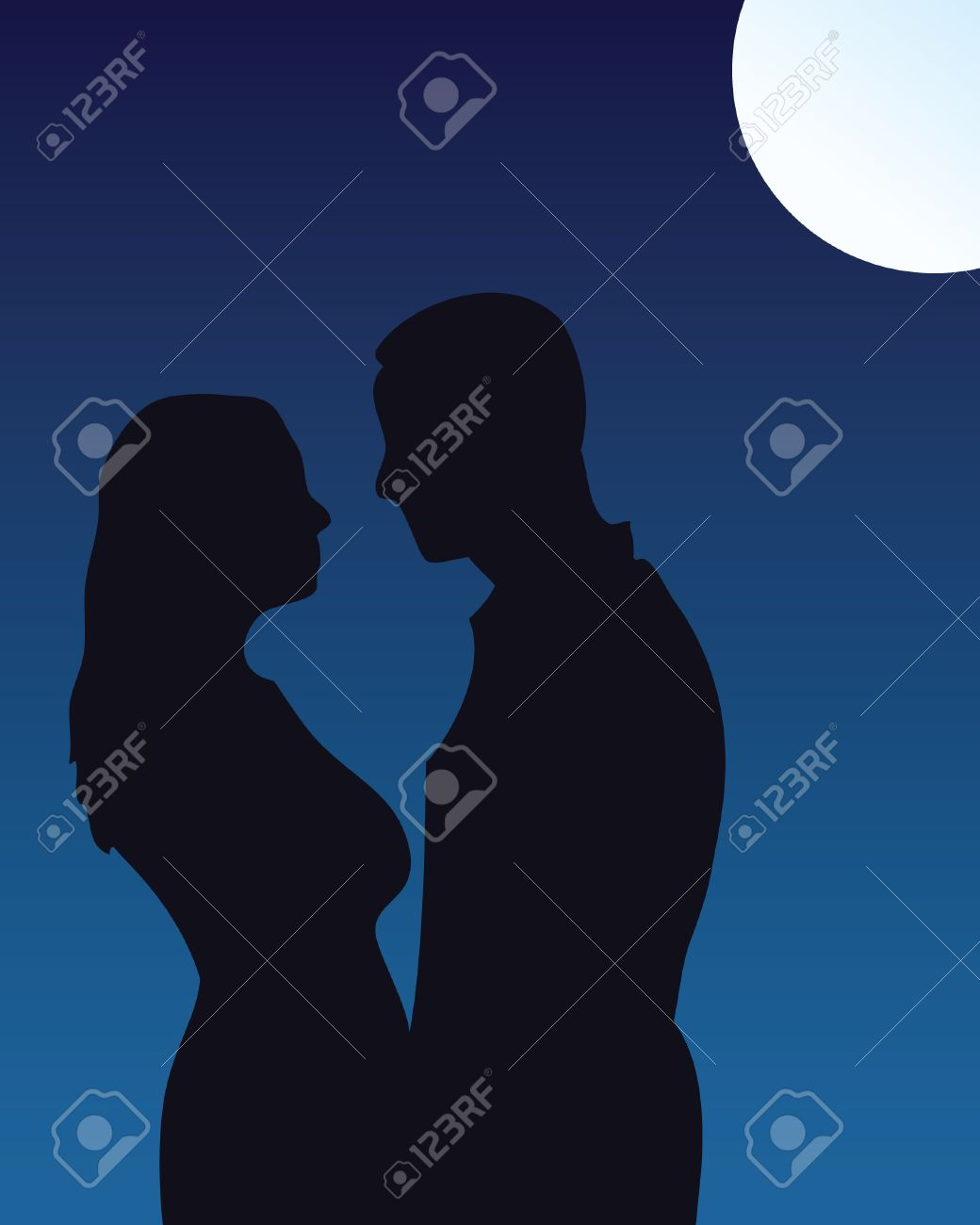 silhouette of couple kissing under moonlight stock vector 6398479