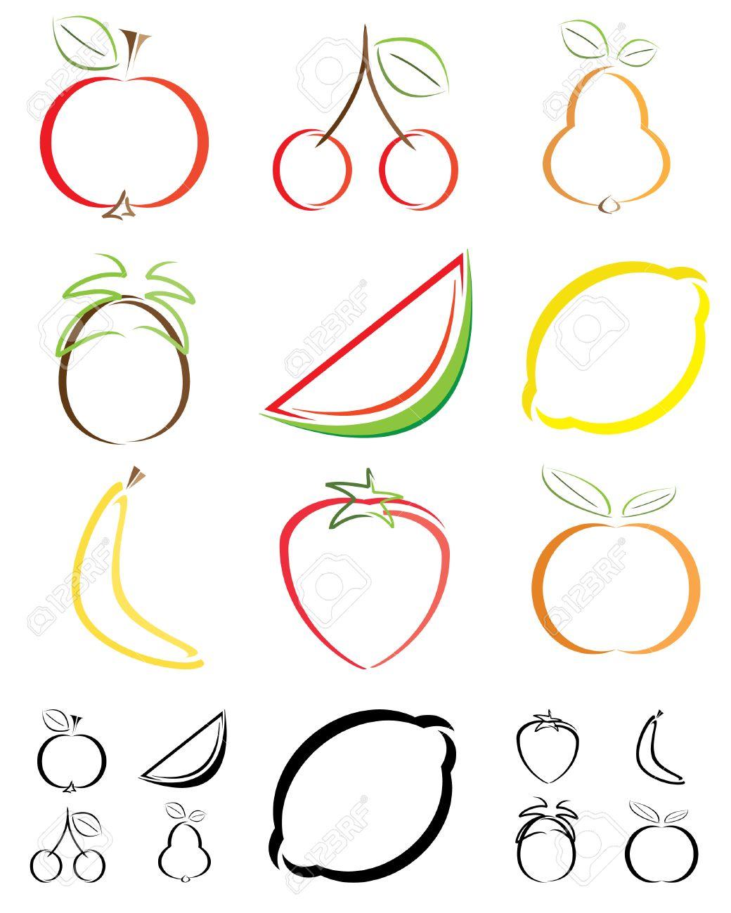 写真素材 , 抽象的なフルーツ図形・ イラスト