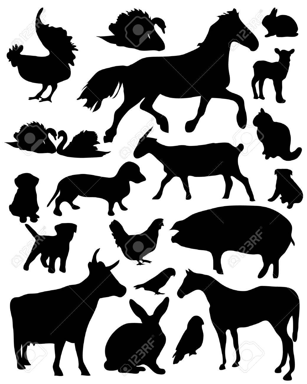 Set of vector illustrated domestic animals silhouettes Stock Vector - 6671067