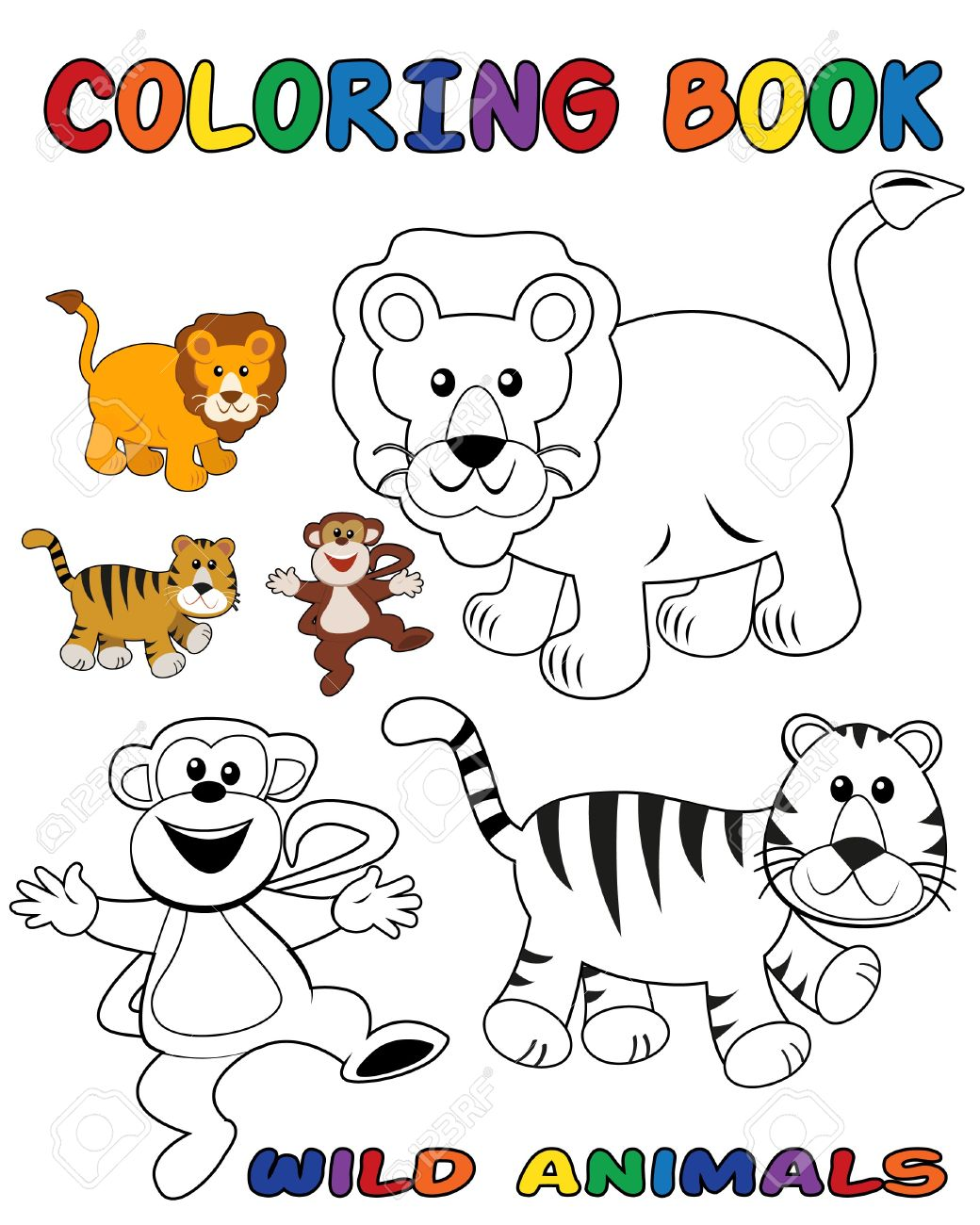 wild animals coloring book outlined and colored objects stock vector 8038122 - Animals Coloring Book