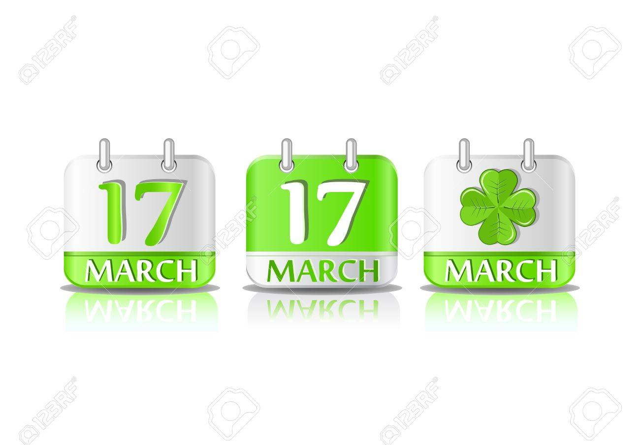 Green calendar icon on March 17th. Saint Patrick's day Stock Vector - 11898010