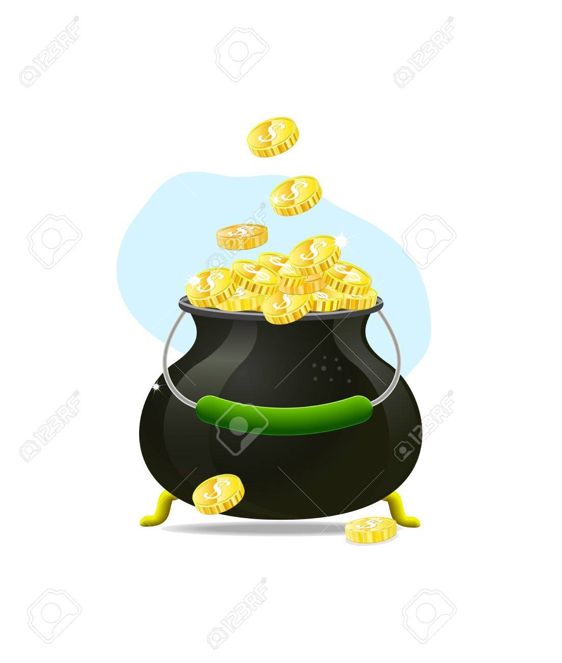 cauldron icon witn gold coins isolated on white background. Illustration on patrick's day Stock Vector - 11904182