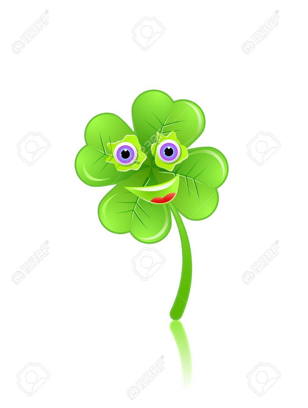 Green Shamrock Face With Eyes and Smile. Stock Vector - 11898009