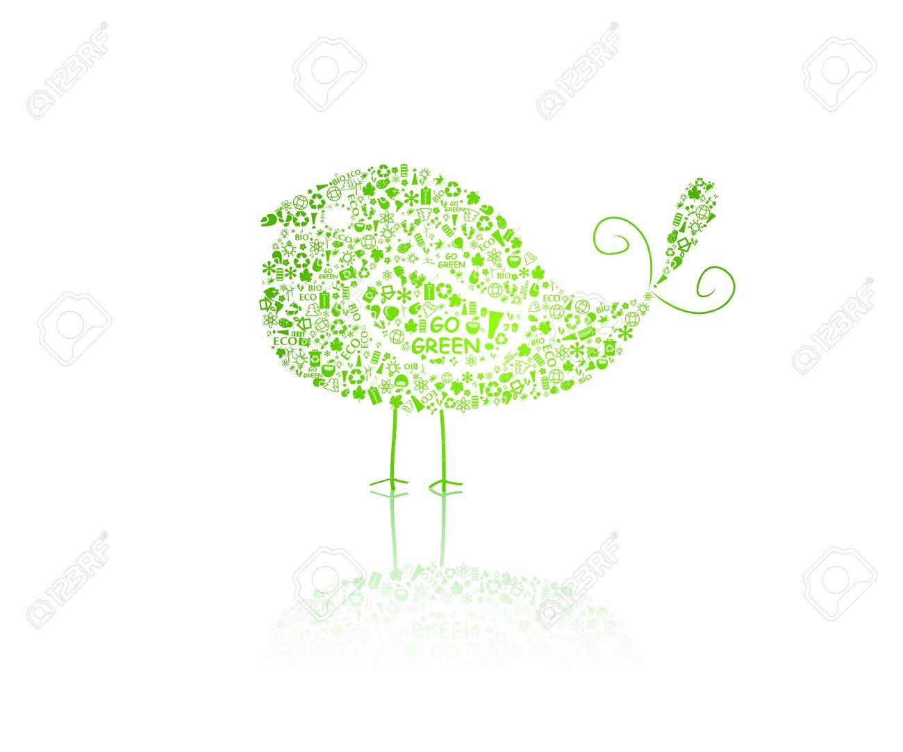 bird silhouette composed of go green eco signs on white backdrop - bulb, leaf, globe, drop, apple, house, trash. Ecology concept. Vector. Stock Vector - 11930323