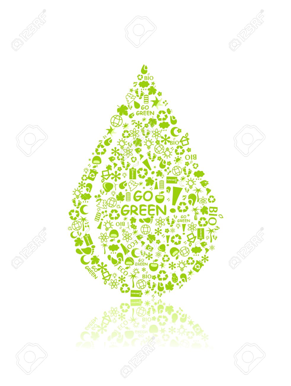 go green eco pattern in drop silhouette on white backdrop - bulb, leaf, globe, apple, house, trash. Ecology concept. Stock Vector - 11930319