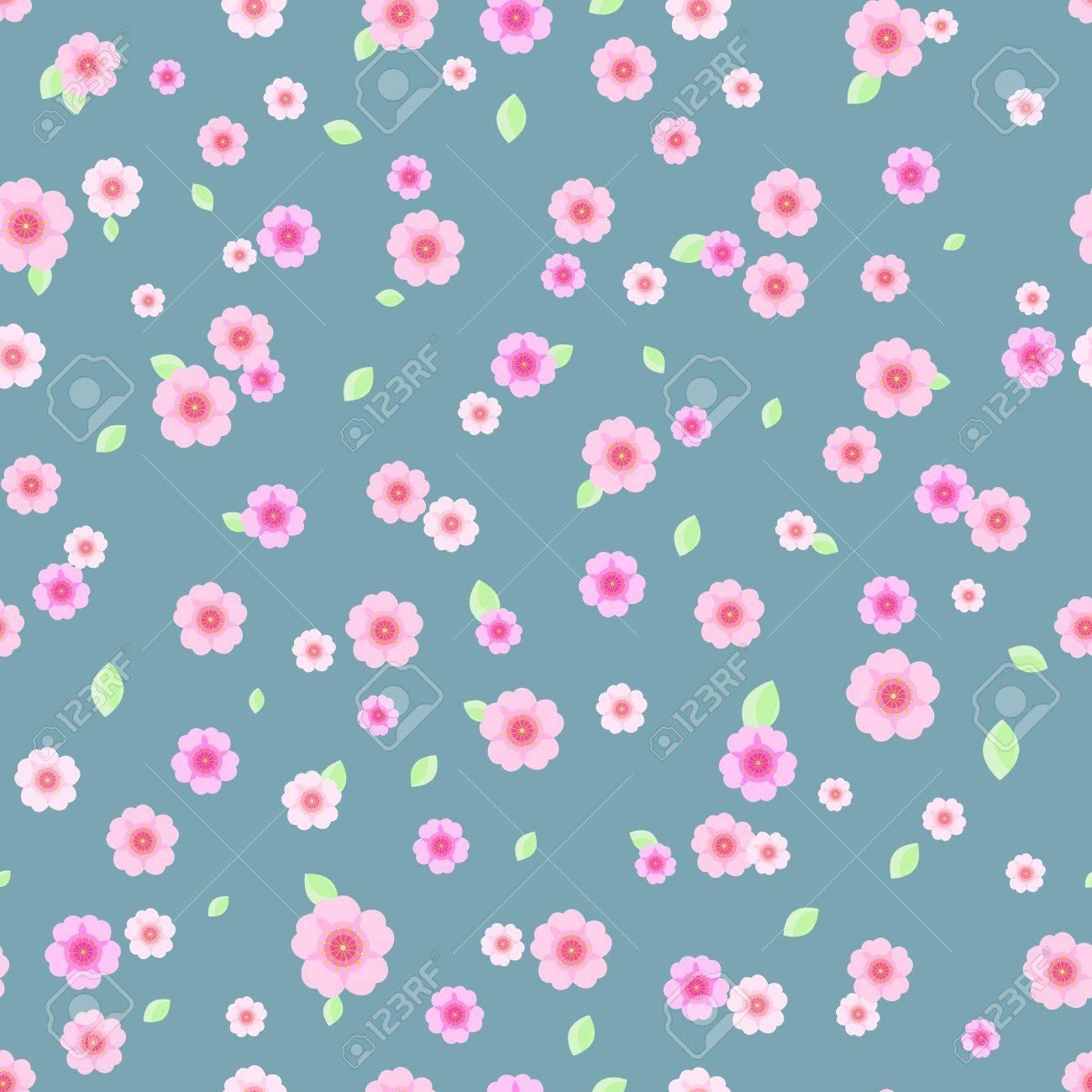 Modello Senza Soluzione Di Continuità Con Fiori Rosa E Bianchi Su Sfondo Grigio Blu Vector Floral Illustration
