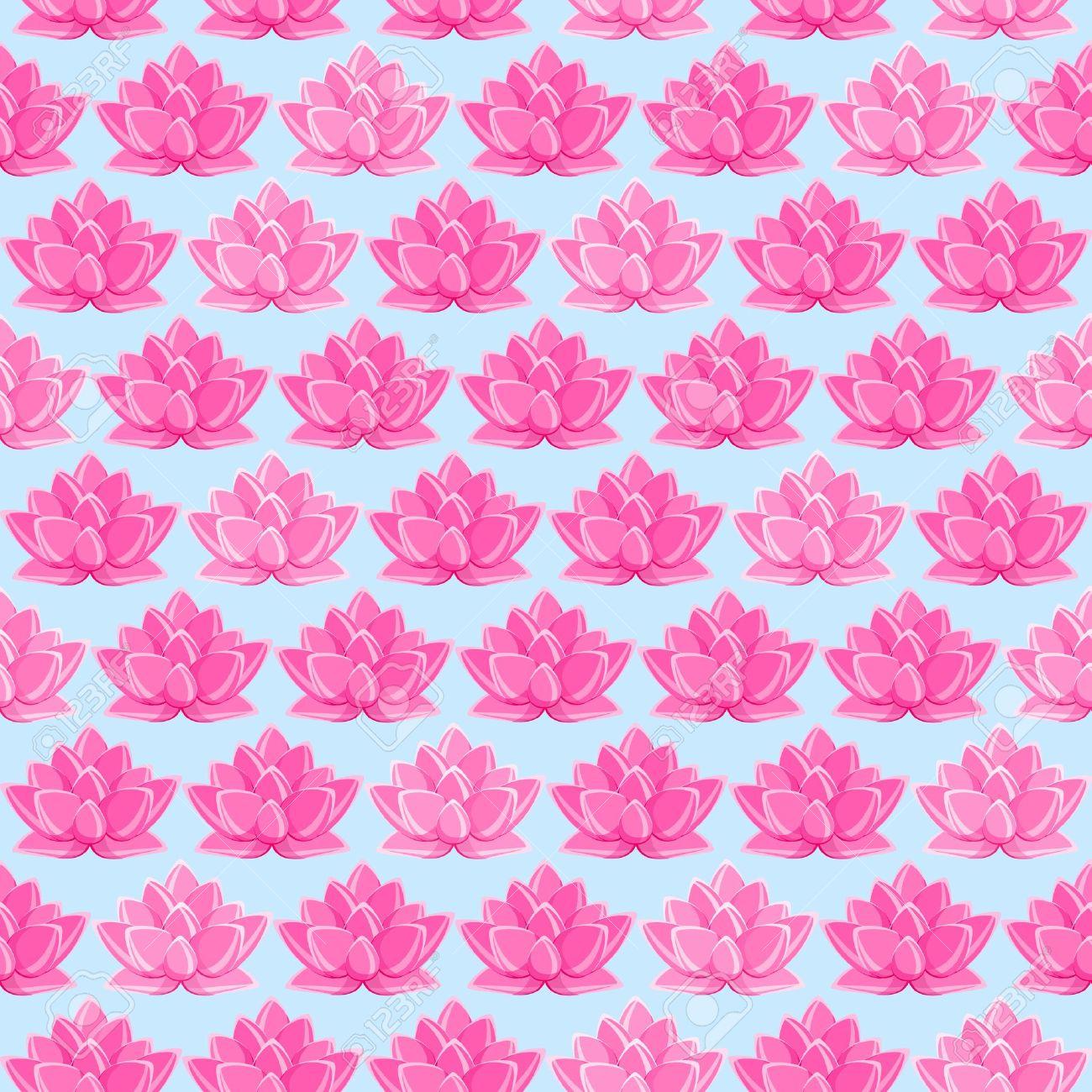 Yoga pattern background seamless pattern with five petals lotus flower - Purple Lotus Pink Lotus Flower Seamless Pattern Floral Texture On Light Blue Background Illustration