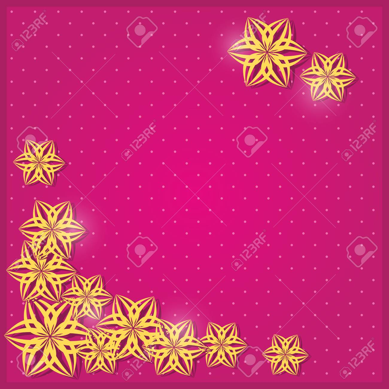 Pink Greeting Invitation Card with Yellow Paper Stick Flower Silhouettes. Vector Illustration Stock Vector - 19396098