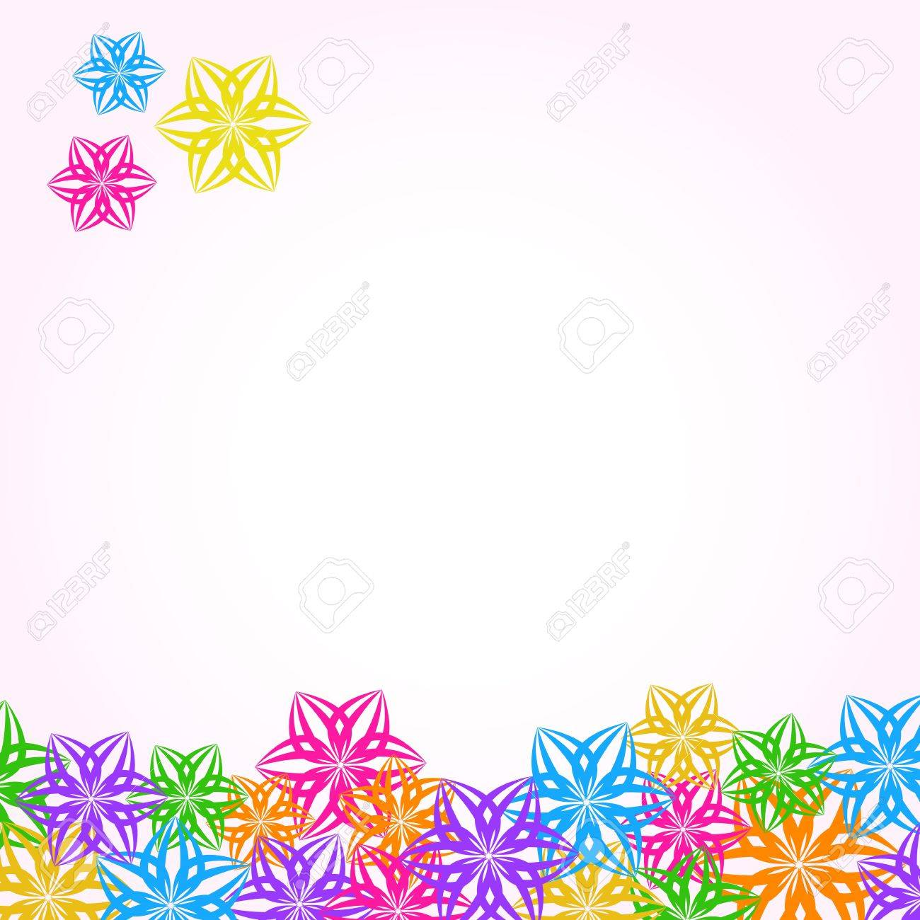 Abstract Spring Multicolored Paper Flower Invitation Card Stock Vector - 19395737