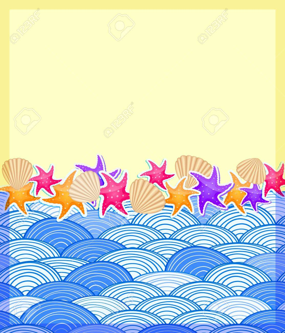 shells and starfishs on beach sand and wave ocean invitation