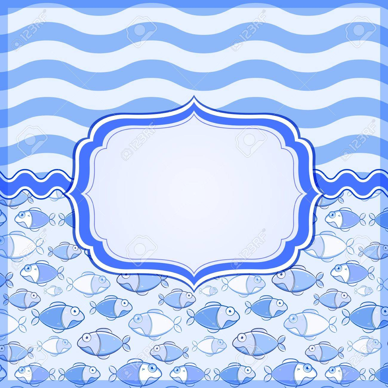 Blue Marine Card with Label Frame and Place for Text. Vector Nautical Banner Stock Vector - 19396178