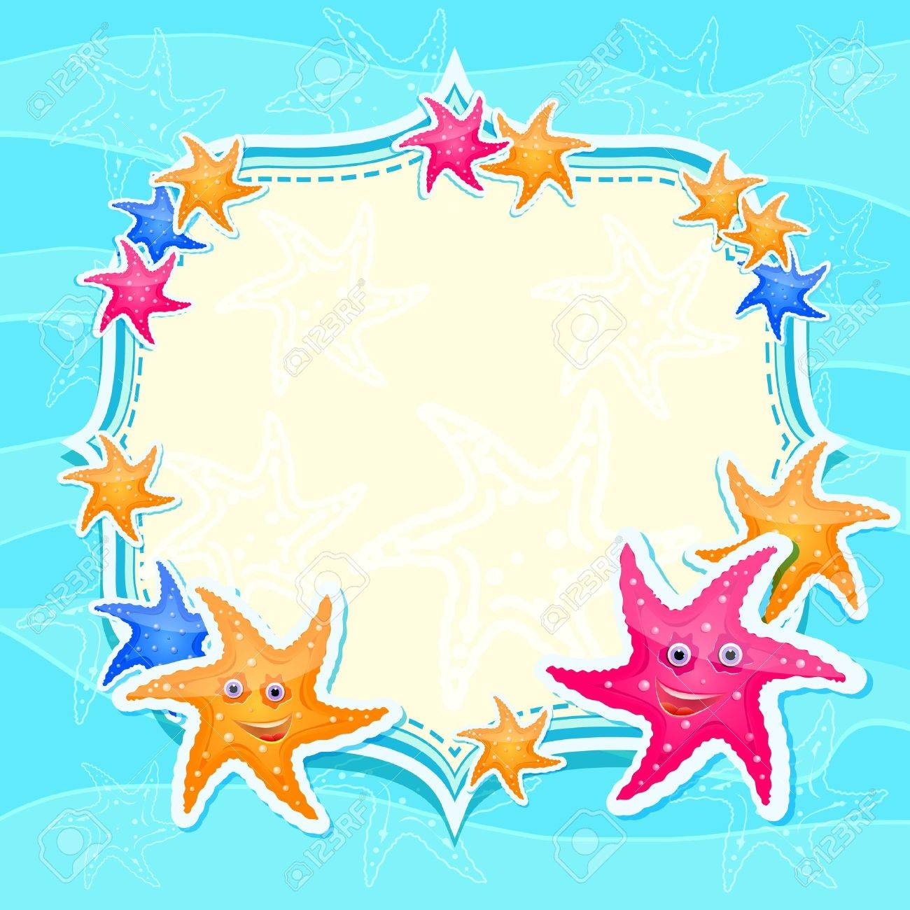 Blue Marine Invitation Card with Bright Starfishes. Cartoon Background Stock Vector - 19396167