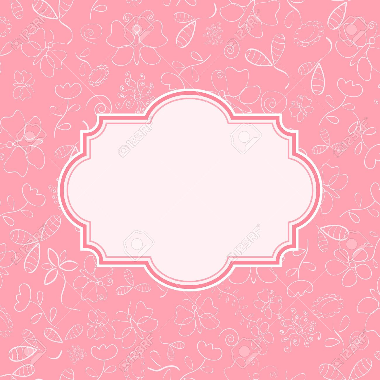 Pink invitation card with flower and butterfly silhouettes on pink invitation card with flower and butterfly silhouettes on background vector illustration stock vector stopboris Images