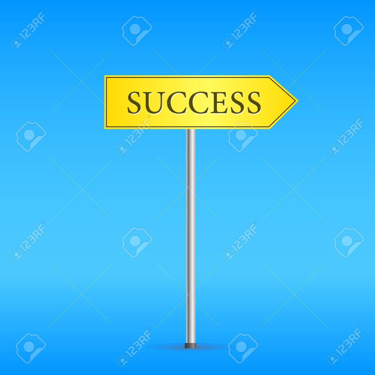 Yellow Road Sign with Word Success. Vector Blue Background Stock Vector - 20069322