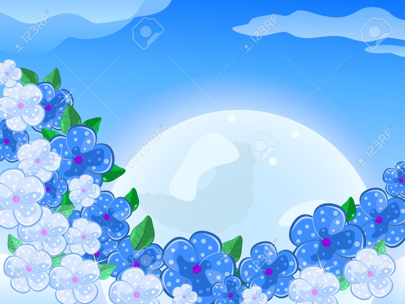Blue and White Flowers In front of thee Moon In the Sky With Sunshine. Vector Illustration Stock Vector - 20069441