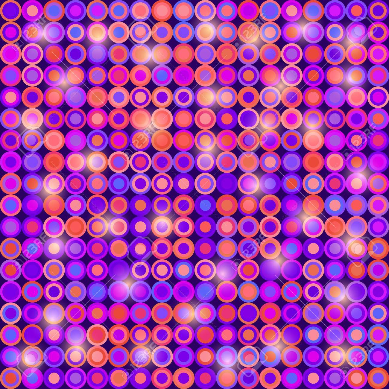 Purple Disco Lights Seamless Pattern Vector Background Stock