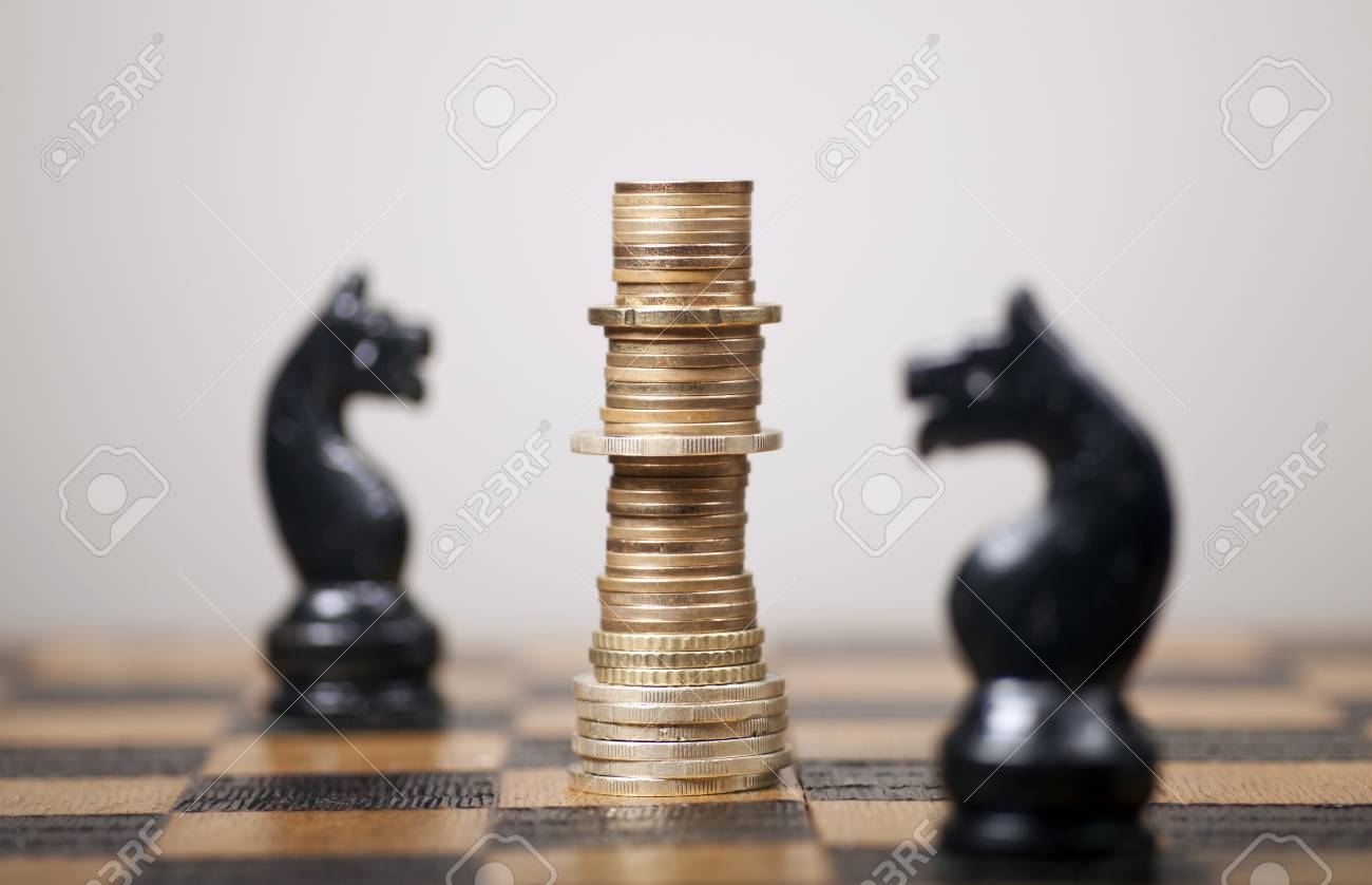 Euro Coins Stacked Like A King On A Chess Board Stock Photo Picture