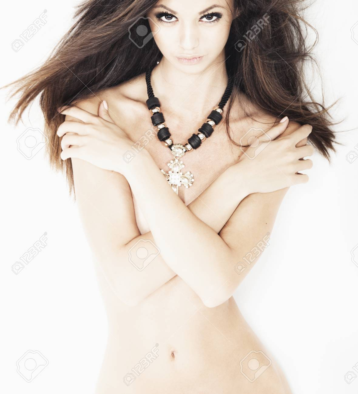 Stock Photo Young Beautiful Nacked Brunette Woman Posing On White Background