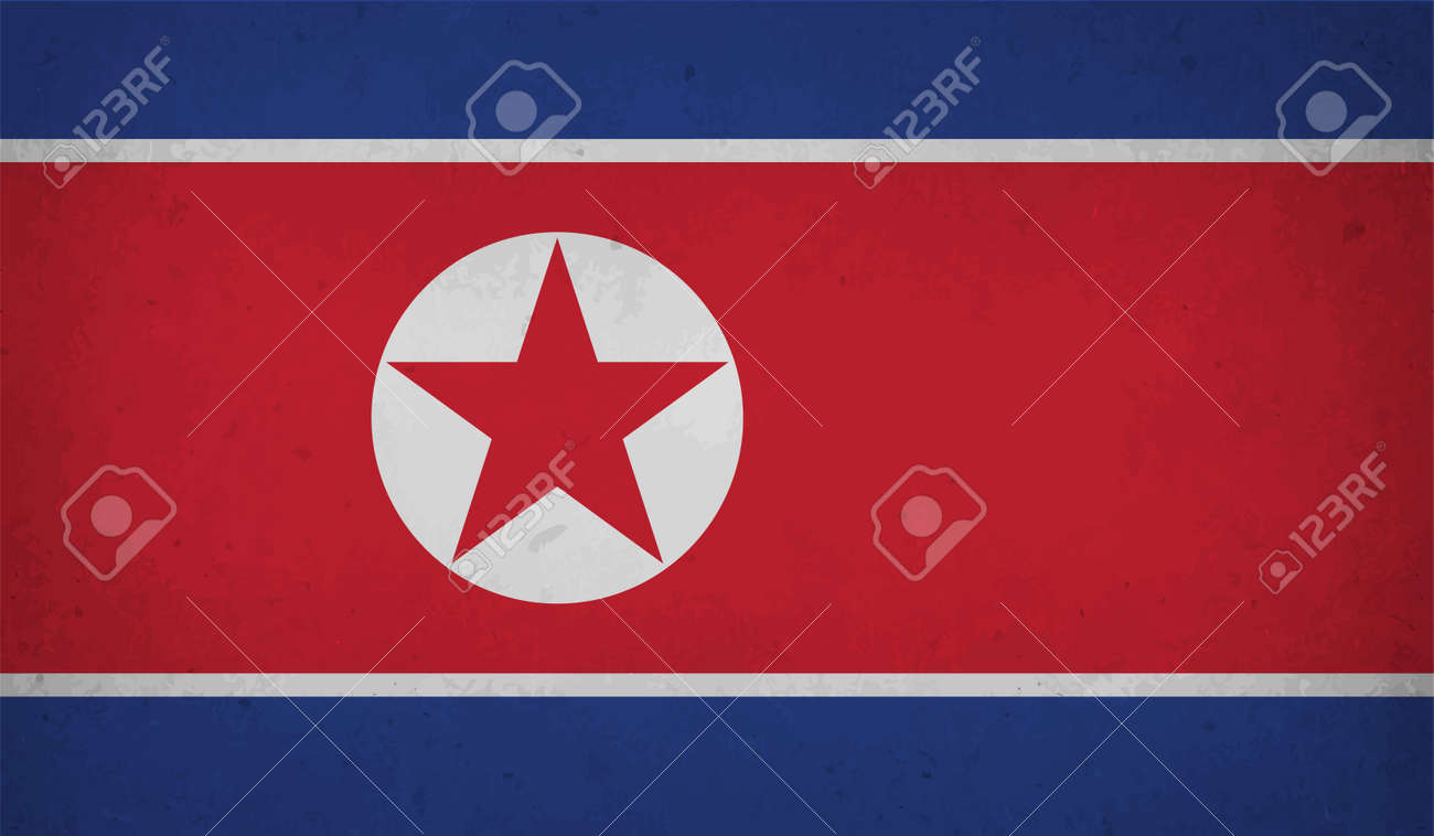North Korea flag with waving grunge texture. Vector background. - 166993751