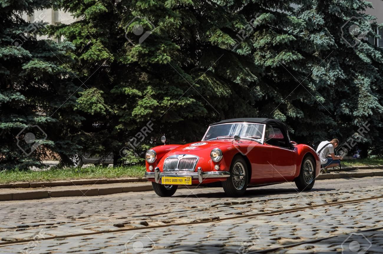 LVIV, UKRAINE - JUNE 2018: Old vintage red retro cabriolet MG