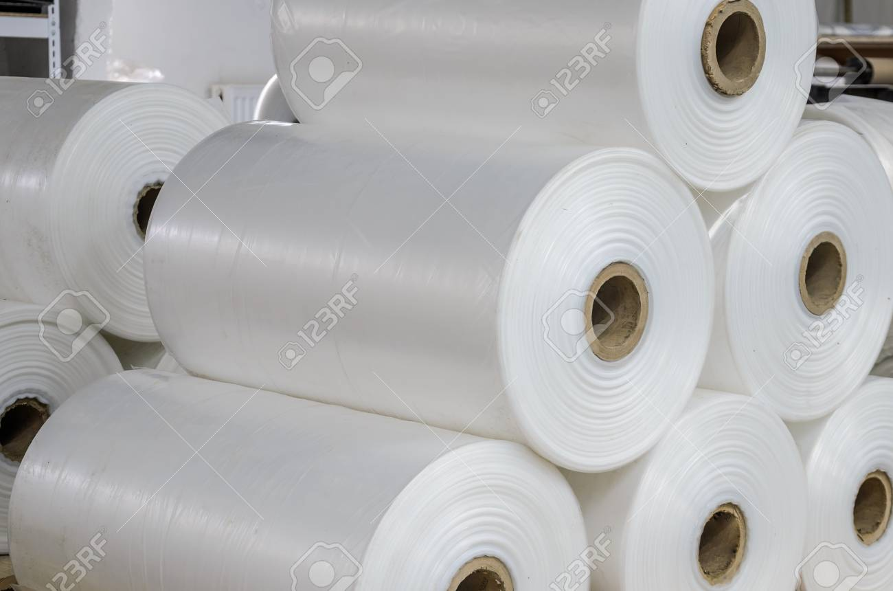 Warehouse with rolls of polyethylene - 114279682