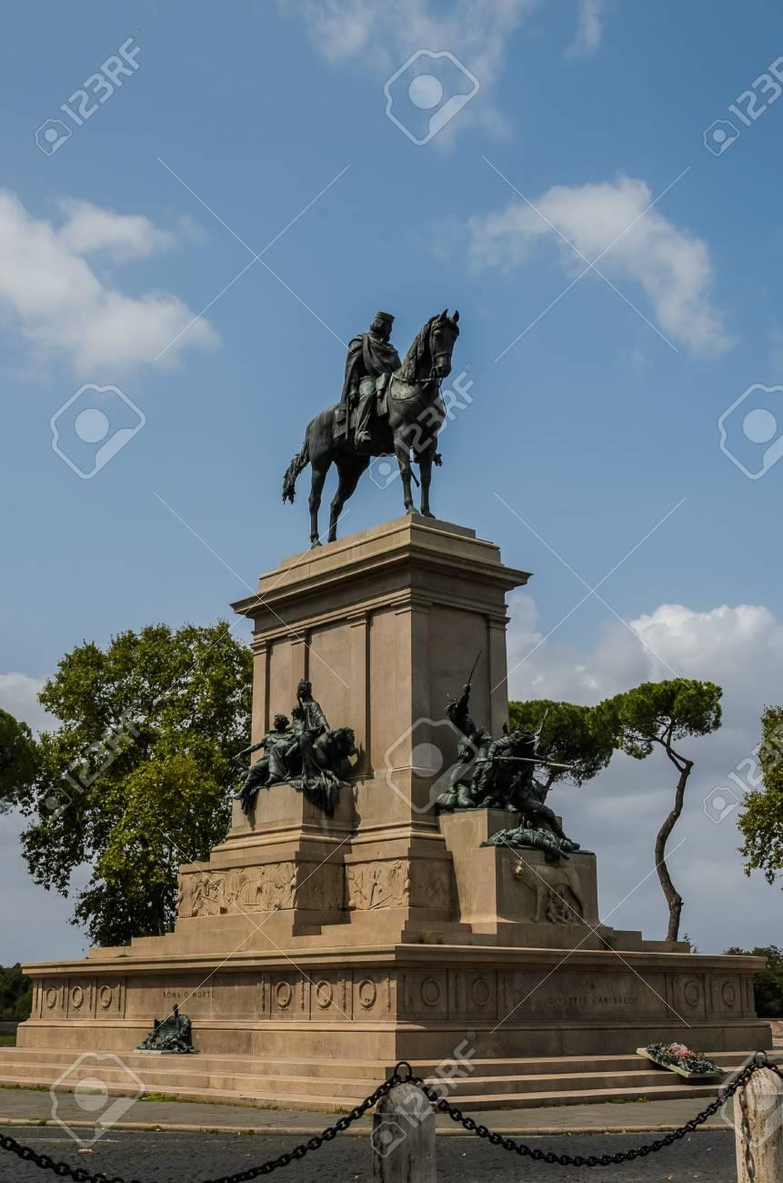 Monument To Giuseppe Garibaldi In Rome On Terrazza Del Gianicolo