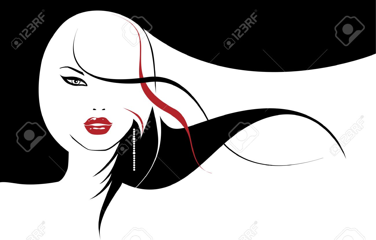 glamour girl with developing hairs Stock Vector - 2527135