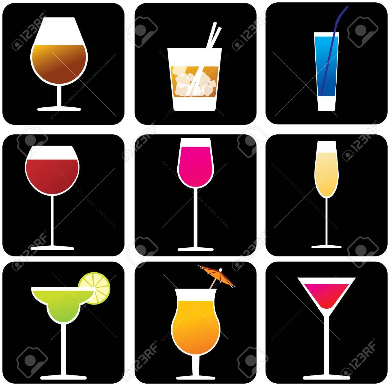 Glasses with alcoholic drinks Stock Vector - 2605849