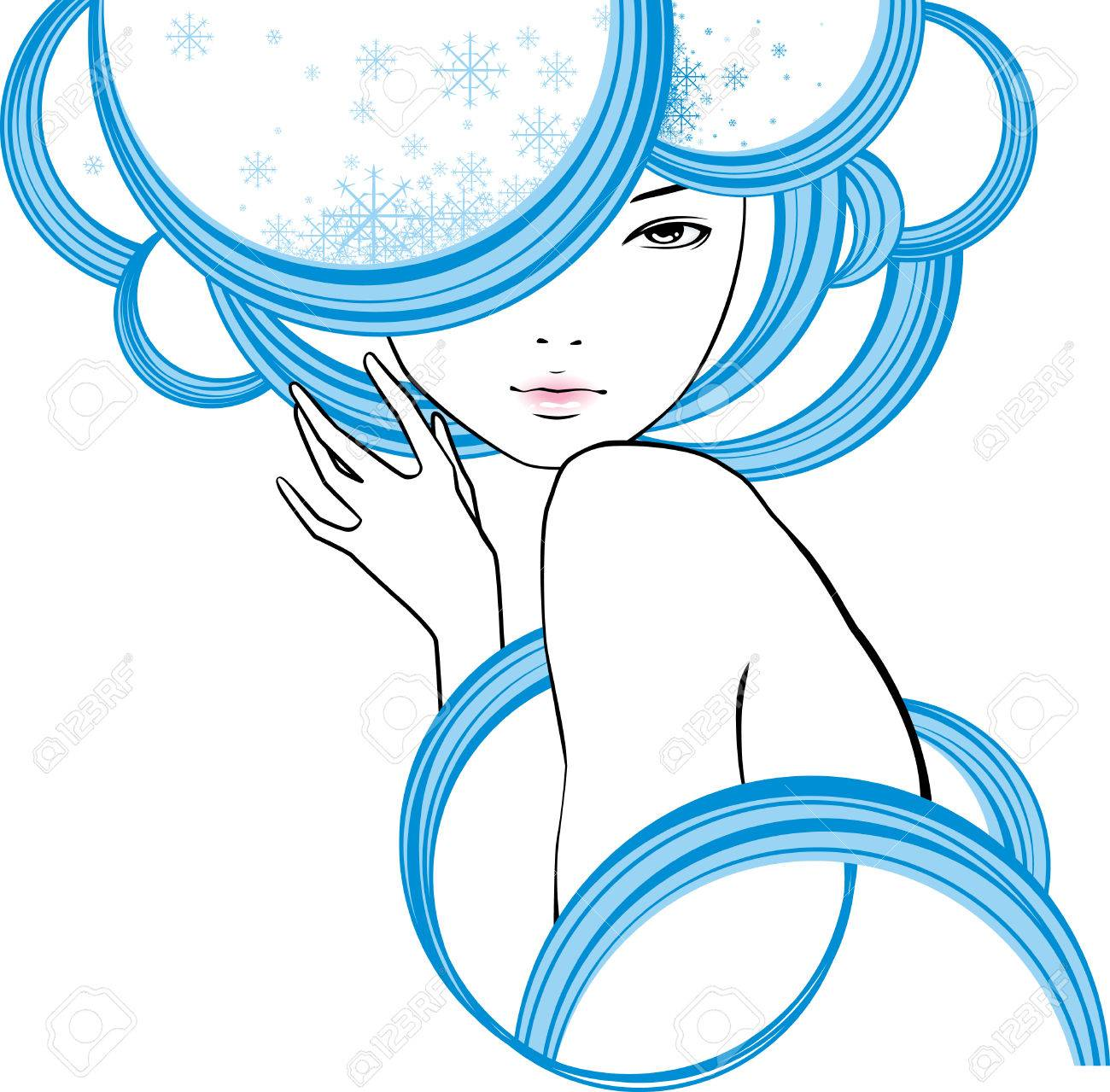 portrait of girl is in style of modern with snowflakes in hair Stock Vector - 6082224