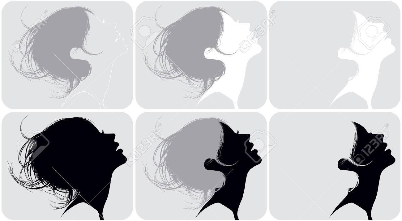 Silhouette of a female head with various hairdresses Stock Vector - 7186984