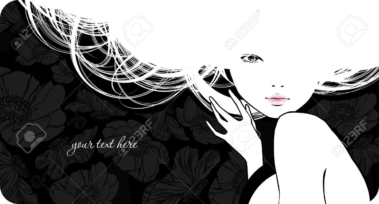 Background with silhouette beautiful girl - 12491101