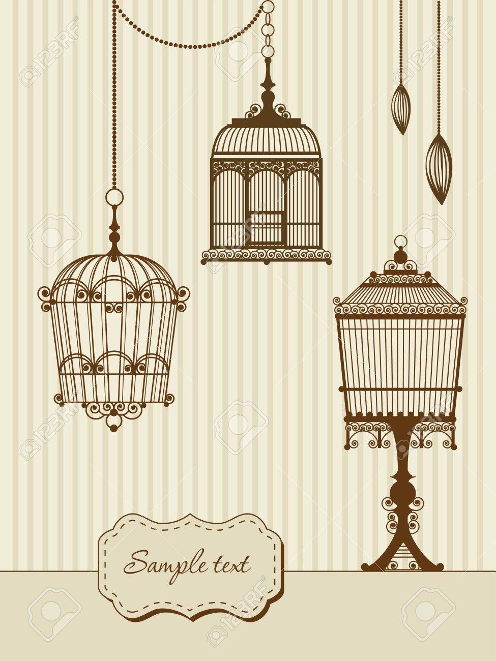 vintage card with birdcages Stock Vector - 13160529